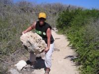 Tuffgesteine aus denen Teile der vulkanischen Inseln bestehen, haben eine arg geringe Dichte, somit kann man leicht auch größere Gesteinsbrocken anheben. Oh, jetzt hab ich es verraten.